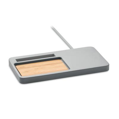 Image of Promotional Desk Organiser With Wireless Charger Made From Bamboo and Limestone Cement