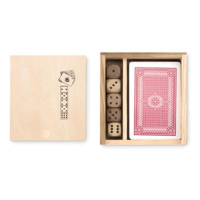 Image of Promotional Playing Cards And Dice Set Presented In Wooden Box