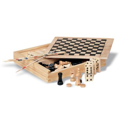 Image of Promotional Traditional Wooden Games Gift Set With Chess, Domino's, Drafts And Mikado Sticks