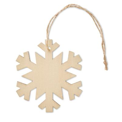 Image of Promotional Wooden Christmas Tree Snowflake Decoration