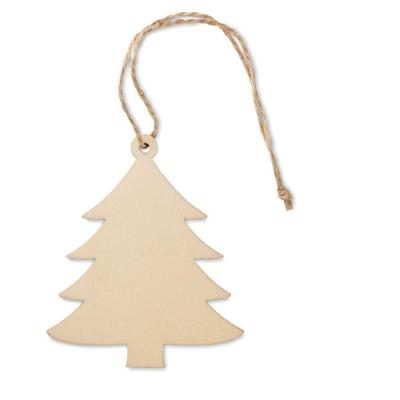 Image of Promotional Wooden Christmas Tree Hanging Decoration