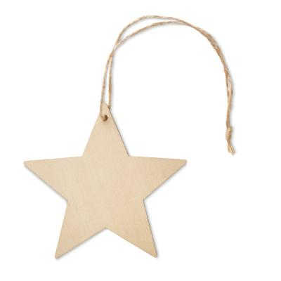 Image of Promotional Wooden Christmas Star Tree Hanging Decoration