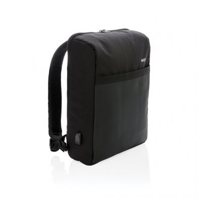 "Image of Branded Swiss Peak 15"" Anti-Theft RFID & USB Backpack PVC Free, Black. Printed With Your Logo"