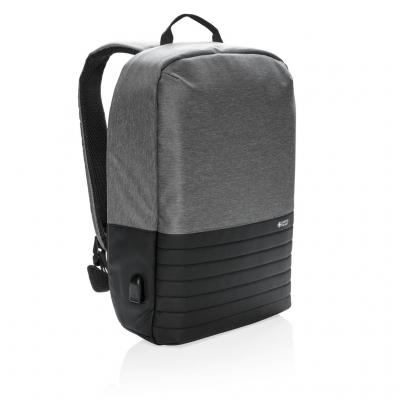 "Image of Promotional Branded Swiss Peak RFID Anti Theft 15"" Laptop Backpack Grey Printed With Your Logo"