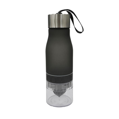 Image of Promotional Monaco Infuser Bottle 650ml. Plastic Reusable Bottle With Build In Juicer. Quick Turnaround Black