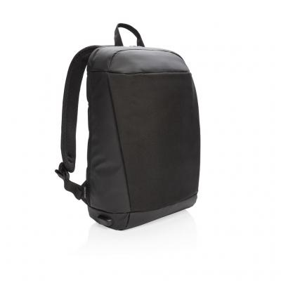 Image of Promotional Black Madrid Anti-Theft RFID USB Laptop Backpack PVC Free. Printed With Your Logo