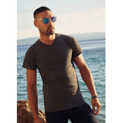 Image of Branded Mens V-Neck T-Shirt- Custom T-Shirt Fruit of The Loom Comes In Ladies Styles Also.Colours: white, black, charcoal, navy, deep navy, heather grey, red, royal blue