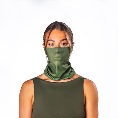 Image of Express Printed Bumpaa Snood Face Covering With Antiviral Technology Olive Green