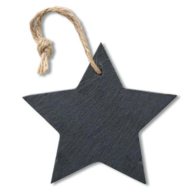 Image of Promotional Christmas Star Hanging Decoration Made From Eco Slate Material