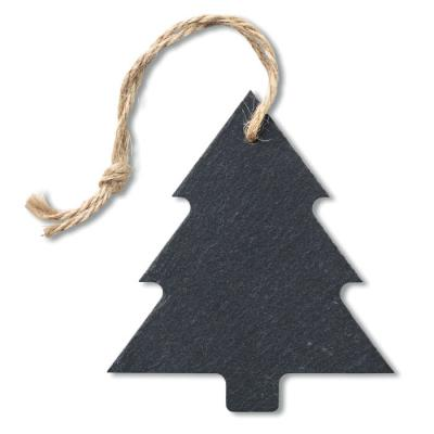 Image of Promotional Christmas Tree Shaped Hanging Decoration Made From Eco Slate Material