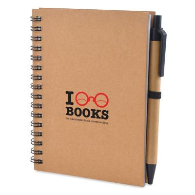 Image of Promotional Eco Recycled A6 Pocket Notebook And Pen Set Express Printed