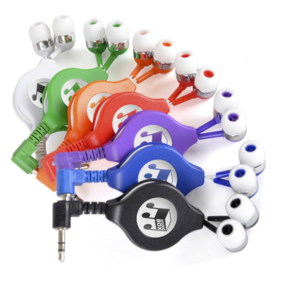Image of Promotional Retractable Earphones Express Printed