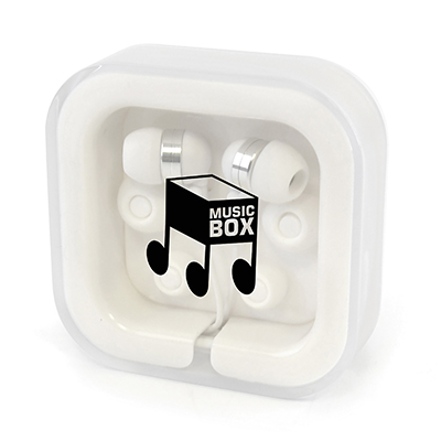 Image of Promotional Earphones In Square Plastic Case Express Printed