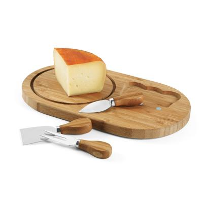 Image of Promotional Eco Bamboo Cheese Board And Cheese Knifes Gift Set