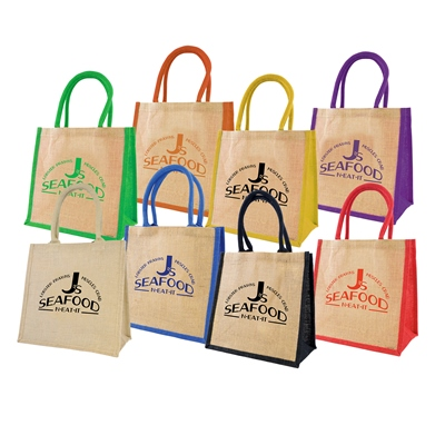 Image of Printed Reusable Eco Jute Shopping Bag With Coloured Handles And Panels
