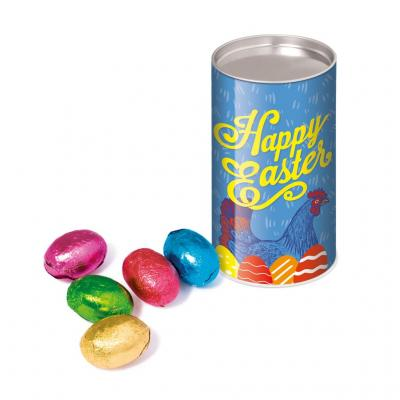 Image of Promotional Easter Eggs Chocolate Foil Wrapped Presented In A Full Colour Printed Snack Tube