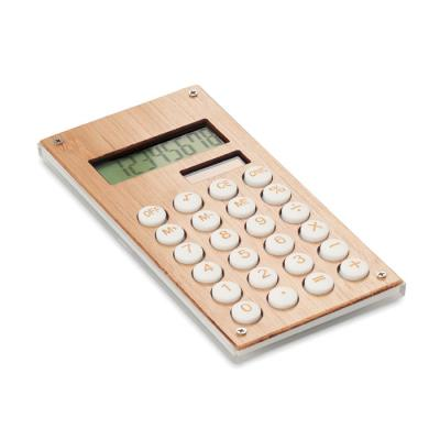 Image of Promotional Bamboo Calculator With Dual Solar Power