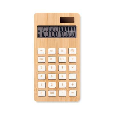 Image of Branded Bamboo Calculator With Dual Solar Power