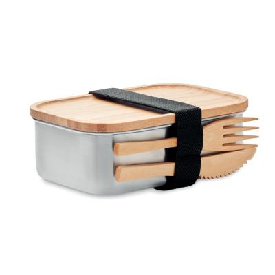 Image of Promotional Stainless Steel Lunchbox With Bamboo Lid And Cutlery