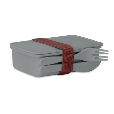 Image of Printed Bamboo Fibre Lunch Box With Cutlery Set