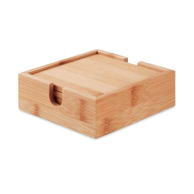 Image of Promotional Bamboo Coaster Set With Square Holder